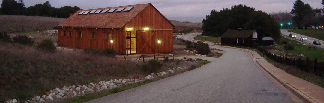 Photo of remodeled Hay Barn taken at evening.